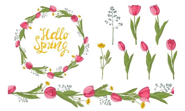 Een krans van tulpen en lentekruiden met de inscriptie.