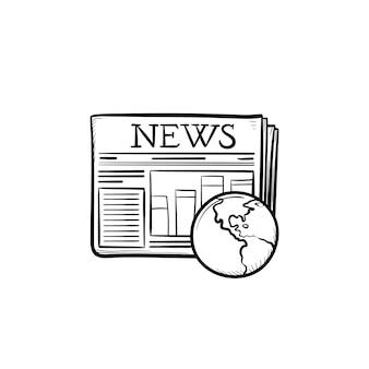 Een krant hand getrokken schets doodle icon