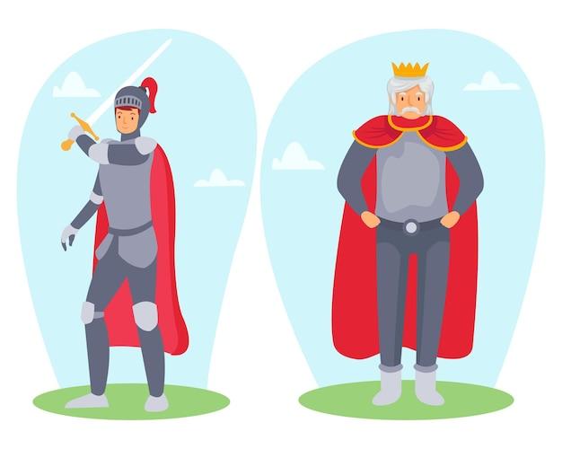 Een krijger die een wapen draagt met een erg knappe koning