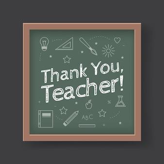 Een krijtbord met de tekst dank u juf erin geschreven. wenskaart voor het concept van de dag van de wereldleraar.