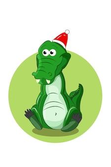 Een krokodil met een kerstmuts