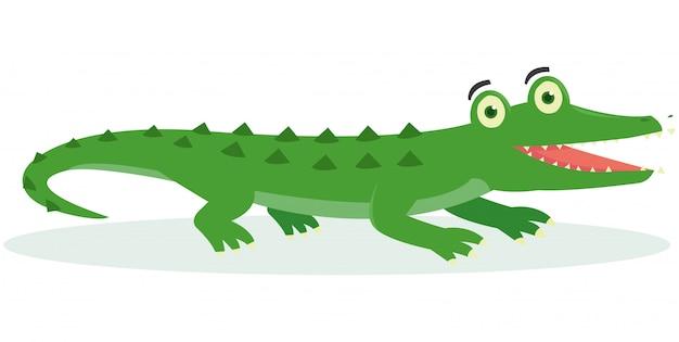 Een krokodil ziet er blij uit na het eten van een hert
