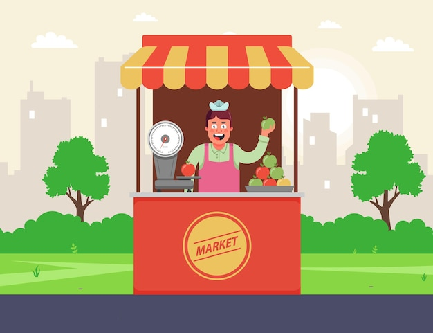 Een kruidenierswinkel op straat verkoopt fruit. de verkoper achter de toonbank. platte vectorillustratie.