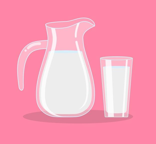 Een kruik melk en een glas melk, geïsoleerde objecten. illustratie.