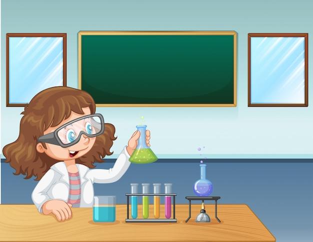Een laboratoriummeisje in klaslokaal