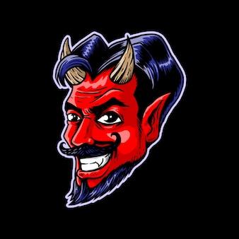 Een lachende duivel met zijn hoektanden illustratie
