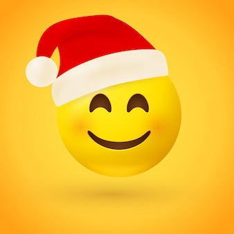 Een lachende gezicht emoji met rode kerstmuts