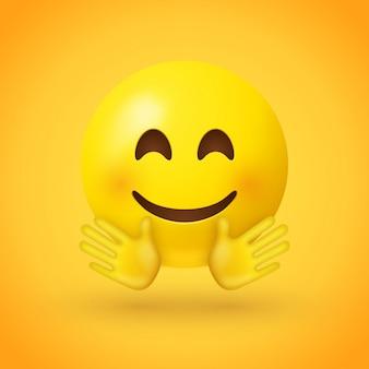 Een lachende gezichtemoji met roze wangen en open handen