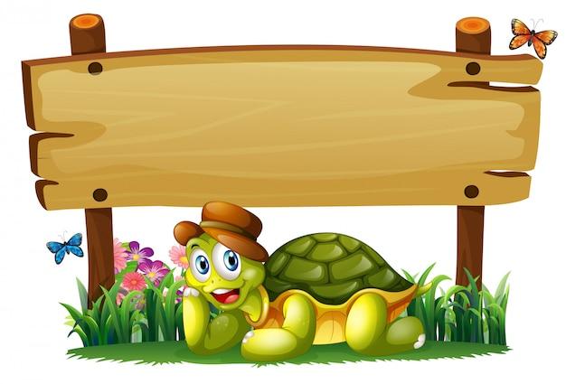 Een lachende schildpad onder de lege houten plank