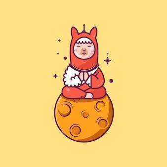 Een lama die meditatie doet op de maan platte cartoonstijl gratis vector