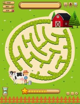 Een landbouwgrond bordspel sjabloon