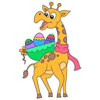 Een lange giraf met een gelukkig gezicht draagt een mand met paaseieren op zijn rug, vectorillustratieart. doodle pictogram afbeelding kawaii.