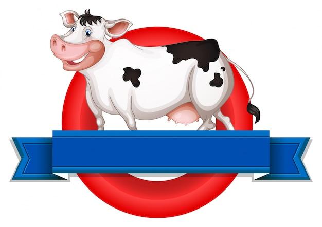 Een leeg etiket met een koe