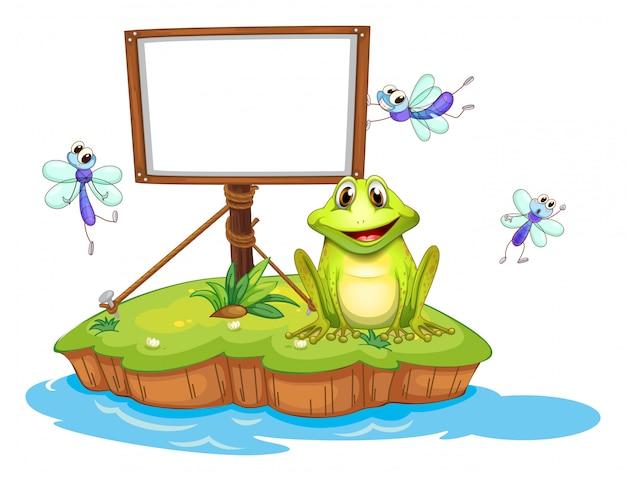 Een leeg ingelijst uithangbord met een dier en insecten
