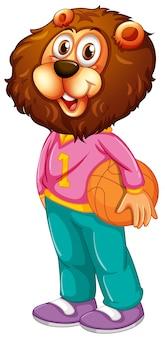 Een leeuw basketbal atleten