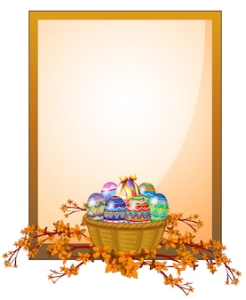 Een lege frame-bewegwijzering met een mand met eieren