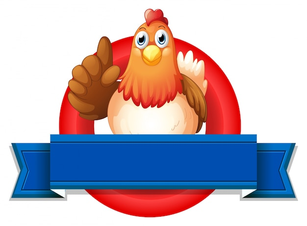 Een lege sjabloon met een kip