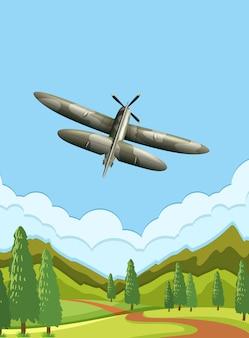 Een legervliegtuig aan de hemel