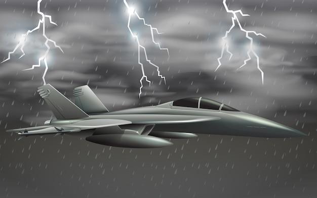 Een legervliegtuig bij slechte weerhemel