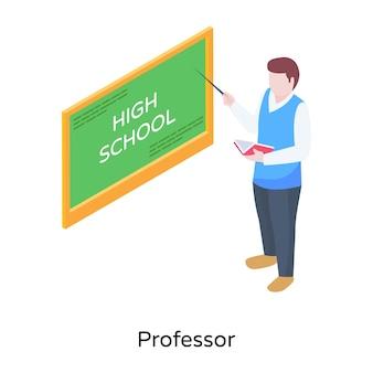 Een leraar die het isometrische pictogram van de wiskundelezing geeft
