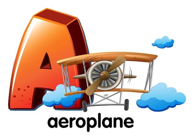 Een letter a voor vliegtuig