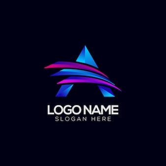 Een letter abstract kleurrijk logo