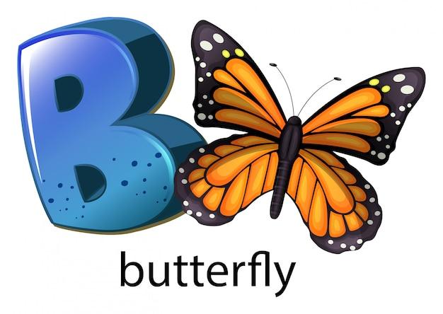 Een letter b voor vlinder