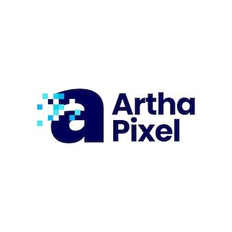 Een letter kleine pixel markeren digitale 8 bit logo vector pictogram illustratie