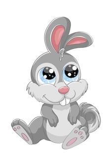 Een leuk grijs babykonijn met blauwe ogen, ontwerp dierlijk beeldverhaal