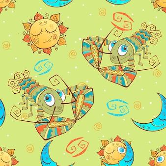 Een leuk naadloos patroon voor kinderen. sterrenbeeld kreeft.