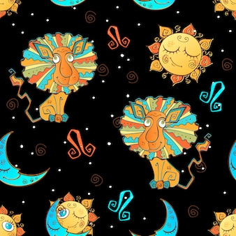 Een leuk naadloos patroon voor kinderen. sterrenbeeld leeuw in het zwart