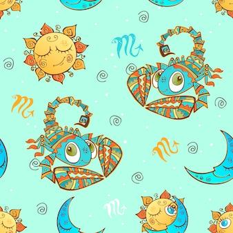 Een leuk naadloos patroon voor kinderen. sterrenbeeld schorpioen.