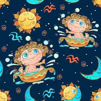Een leuk naadloos patroon voor kinderen. sterrenbeeld waterman.