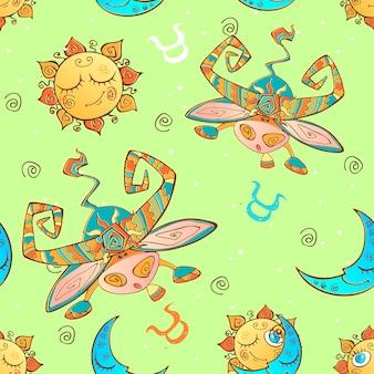 Een leuk naadloos patroon voor kinderen