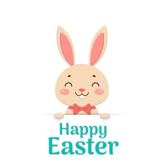 Een leuk pasen-cartoon glimlachend konijntje in een rode vlinderdas kijkt uit het gat en houdt de tekstplaats vast. gelukkig pasen.