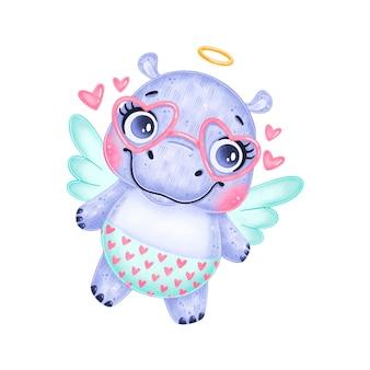 Een leuke cartoon cupido hippo geïsoleerd. valentijnsdag dieren.