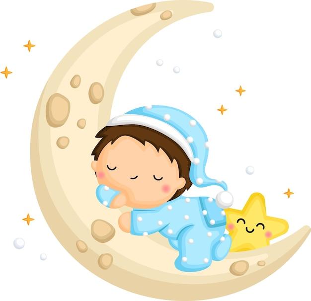 Een leuke jongen die op de maan slaapt