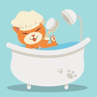 Een leuke kat die van het karakterbeeldverhaal in de badkuip ligt