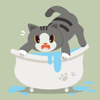 Een leuke kat van het karakterbeeldverhaal bang op badkuip.