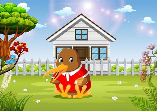 Een leuke kiwivogel die voetbal spelen bij tuin