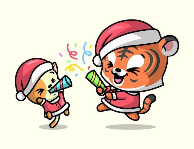 Een leuke tijger en kat vieren kerstmis vrolijk