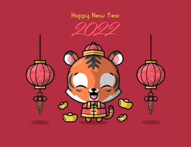 Een leuke tijger in traditionele chinese outfit is begroet voor chinees nieuwjaar