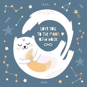 Een leuke witte kat vliegt door de nachthemel.