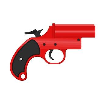 Een lichtkogelpistool, ook bekend als een very-pistool of signaalpistool, is een pistool met grote diameter dat vuurpijlen afvuurt. het lichtkogelpistool wordt gebruikt voor een noodsignaal. vector illustratie.
