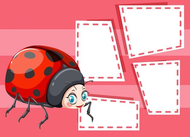 Een lieveheersbeestje op noteachtergrond