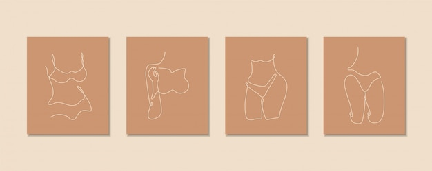 Een lijn continu van sexy lichaam set, enkele lijntekening kunst, vrouwelijk lichaam geïsoleerd, eenvoudig kunstontwerp, abstracte lijn, silhouet voor frame