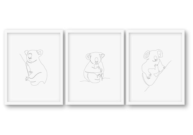 Een lijn dier set poster stock illustratie