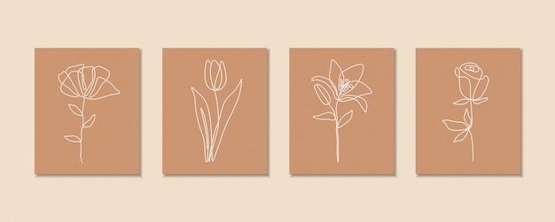 Een lijn doorlopende bloemenset, enkele lijntekening kunst, tropische bladeren, botanische plant geïsoleerd, eenvoudig kunstontwerp, abstracte lijn, voor frame, modeontwerp, webafbeeldingen, verpakking