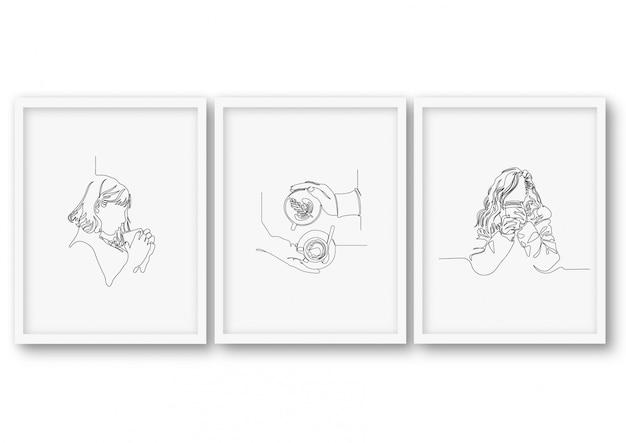 Een lijn koffie illustratie set