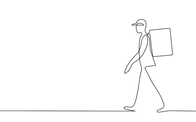 Een lijn kunst lopende bezorger. walk road food verzending mobiele app bestelling. doorlopende lijnpakket thermische tas rugzak dinermaaltijd. snelle levering concept vectorillustratie.